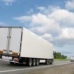 White trucks on country highway — Stock Photo