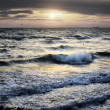 Portrait of sea wave on sunset — Stock Photo
