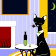 Royalty-Free Stock Векторное изображение: Cat with tube and wine