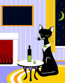 Cat with tube and wine — Stock Vector