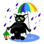 Постер, плакат: Cat with umbrella