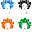 Royalty-Free Stock Vectorielle: Girls with leaf`s hear