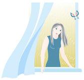 Girl in window — Stock Vector