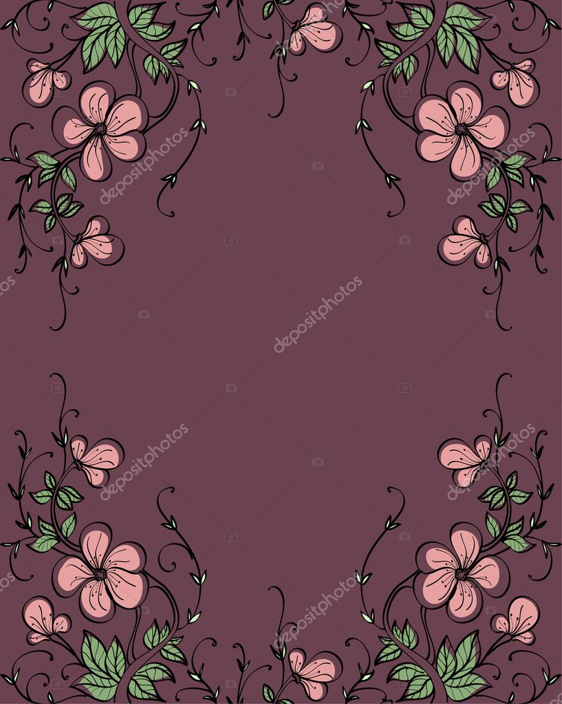 Pink flowers on chocolate backdrop — Stock Vector #1037510