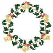 Stock Vector: Christmas holly`s wreath with bells