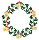 Christmas holly`s wreath with bells — Stock Vector