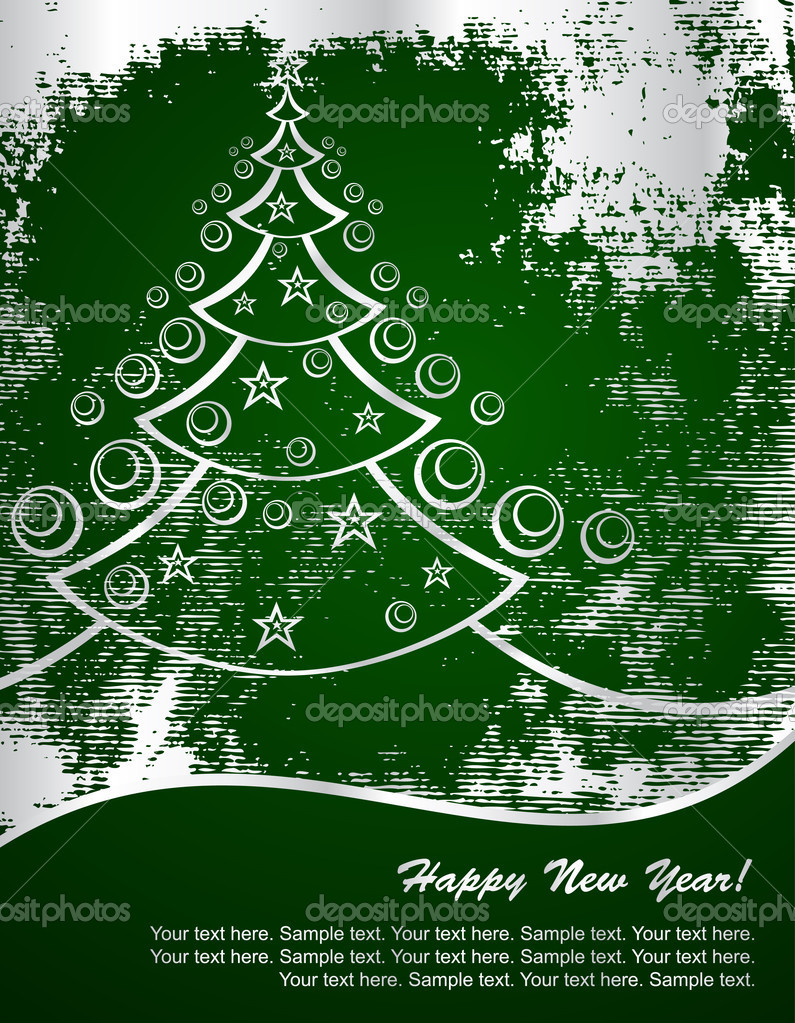 New Year tree on green background, vector — Stock Vector #1055006