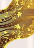 Kaart met gouden anemonen — Stockvector