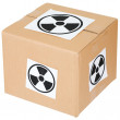 Cardboard box with a radiation hazard - Stock Photo