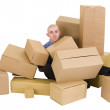 Royalty-Free Stock Photo: The man is heap up by boxes