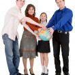 Stock Photo: Family and terrestrial globe