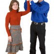 Man and woman hold globe — Stock Photo #1016099