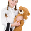 Royalty-Free Stock Photo: Schoolgirl with bear