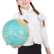 Girl with globe — Stock Photo