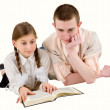 Stock Photo: Man and girl reading book