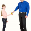Man give apple to girl — Stock Photo #1016671
