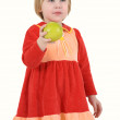Girl in the red dress with apple — Stock Photo #1016861