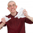Royalty-Free Stock Photo: Man tear to pieces paper