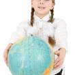 Girl and terrestrial globe — 图库照片