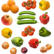 Tomato, orange, apple, onion, cucumber, — Stock Photo