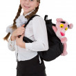 Stock Photo: Girl and toy panter