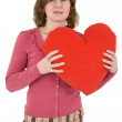 Woman with red heart — Stock Photo