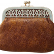Brown antique leather purse — Stock Photo #1019721