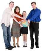 Family and terrestrial globe — Foto de Stock