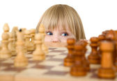 Child ang chess — Stock Photo