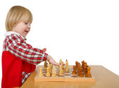 Little girl play chess — Stock Photo