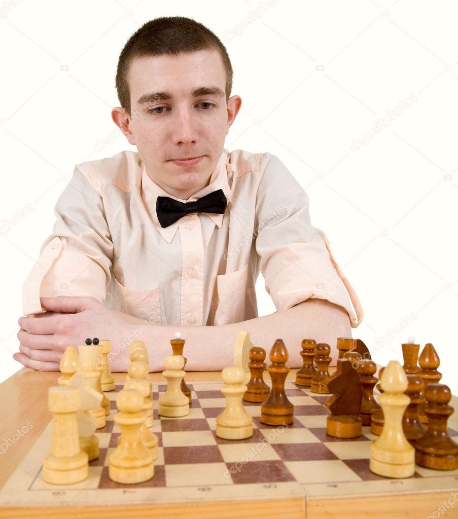 Man looking on chess on a white background — Stock Photo #1016354