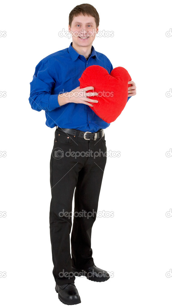 Man hold the heart on a white background — Stock Photo #1016635