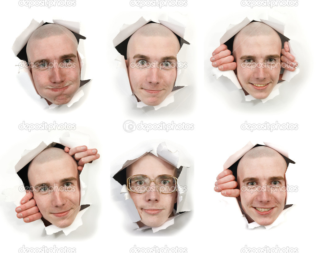 Six man's faces looking through holes in a paper — Stock Photo #1019797
