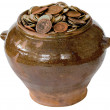 Royalty-Free Stock Photo: Ceramic pot with metal vintage money