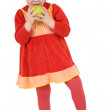 Royalty-Free Stock Photo: Little girl and green apple