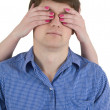 Man with covered eyes — Stock Photo #1022149