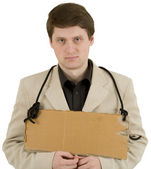 Man and carton tablet — Stock Photo