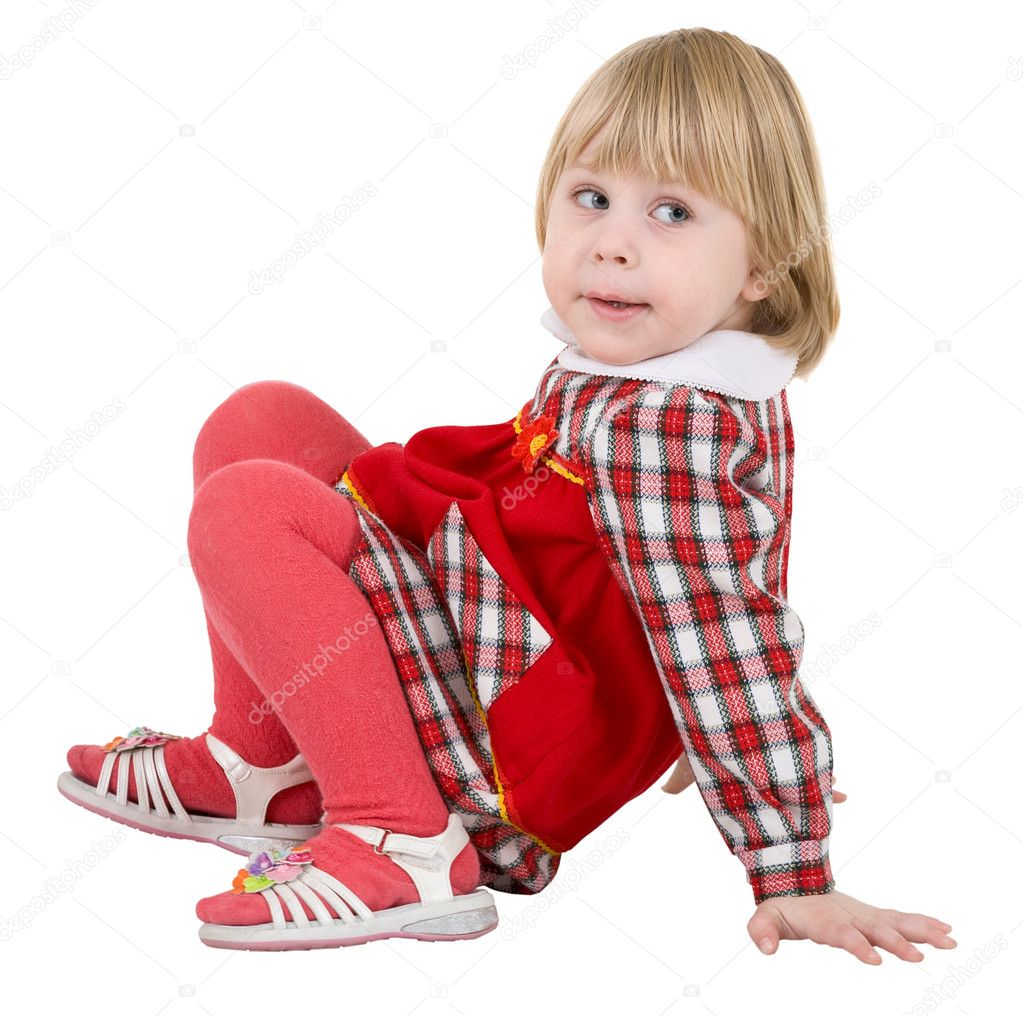 Little girl in red dress on the white background — Stock Photo #1021456