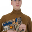 Royalty-Free Stock Photo: Student with an circuit board