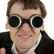 Funny man in welding goggles — Stock Photo