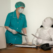 Patient similar to a mummy and the docto — Stock Photo #1047446