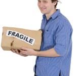 Man holded cardboard box with inscriptio — Stock Photo