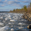 Landscape with river and ice — Stock Photo