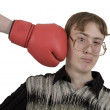 Royalty-Free Stock Photo: Man of kick on boxer glove