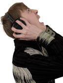Person in ear-phones shouting — Stock Photo