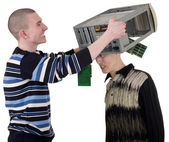 Serviceman covered computer on head of c — Stock Photo