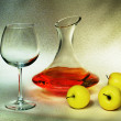 Постер, плакат: Decanter and apples still life