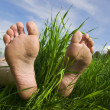 Barefooted a foot — Stock Photo