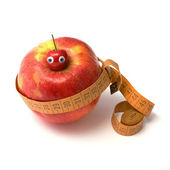 Apple, sweet cherry and tape-line — Stock Photo