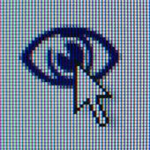 Macrophoto van een pictogram en de cursor — Stockfoto